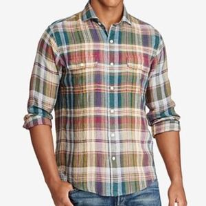 Polo Ralph Lauren Plaid Linen Button Down Shirt